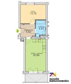 Nowe mieszkanie, 2 pokoje, 2 piętro, 45,43m2